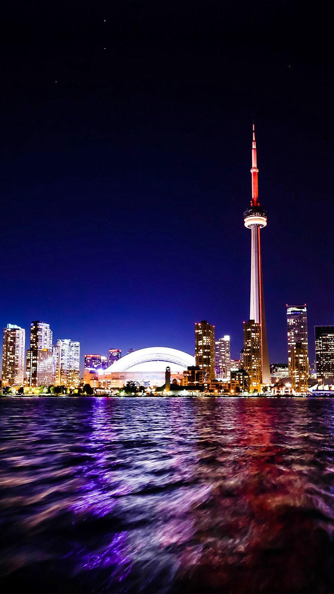 Toronto Lake Canada City Night View Iphone 7 Wallpaper Iphone 6