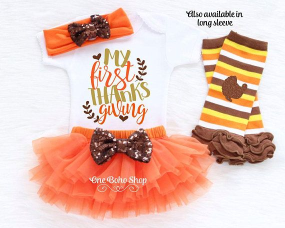 6922c07a0 Baby Thanksgiving Outfit Girl My First Thanksgiving Baby | Kids ...