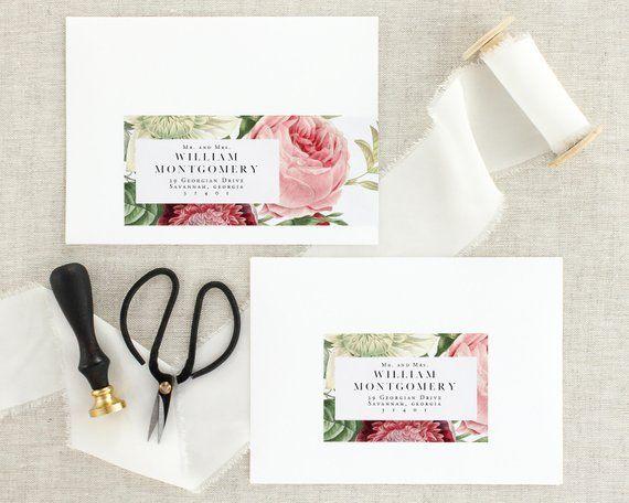 vintage wedding address labels floral wedding invitation address