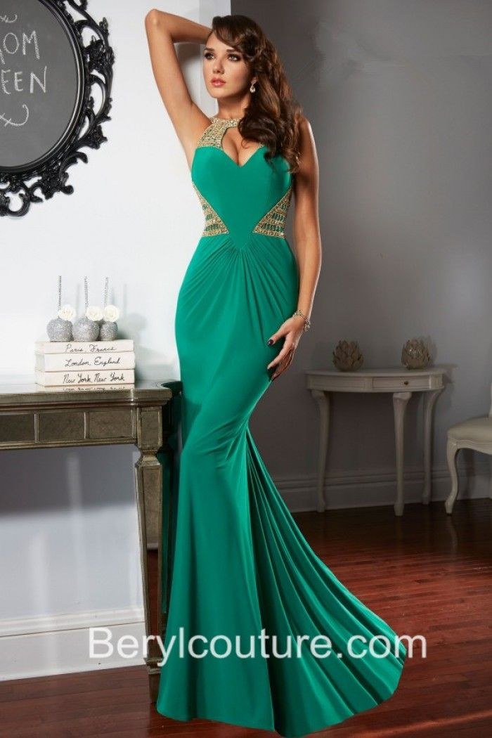 Sexy Cut Out Front Backless Emerald Green Chiffon Gold Beaded Long ...