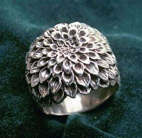 Sterling Silver Dahlia Flower Ring Medium Flower Ring Floral Rings Jewelry Design