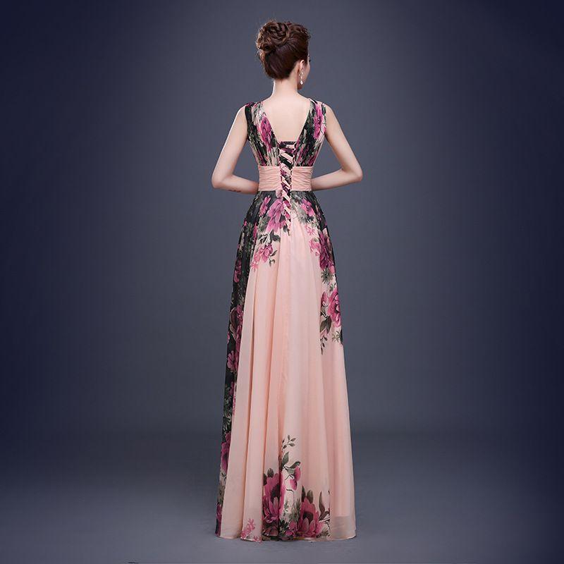 Aliexpress.com: Compre 2015 banquete de moda flor impressão Chiffon longo vestido de baile Plus Size vestido romântico de confiança Filipinas vestido fornecedores em Jinhua SSYFashion E-Business CO.,LTD