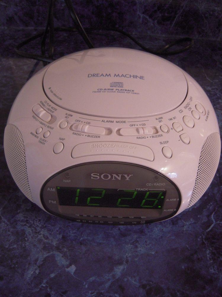 Sony Dream Machine Cd Radio Rrw Fm Clock Radio Icf Cd831