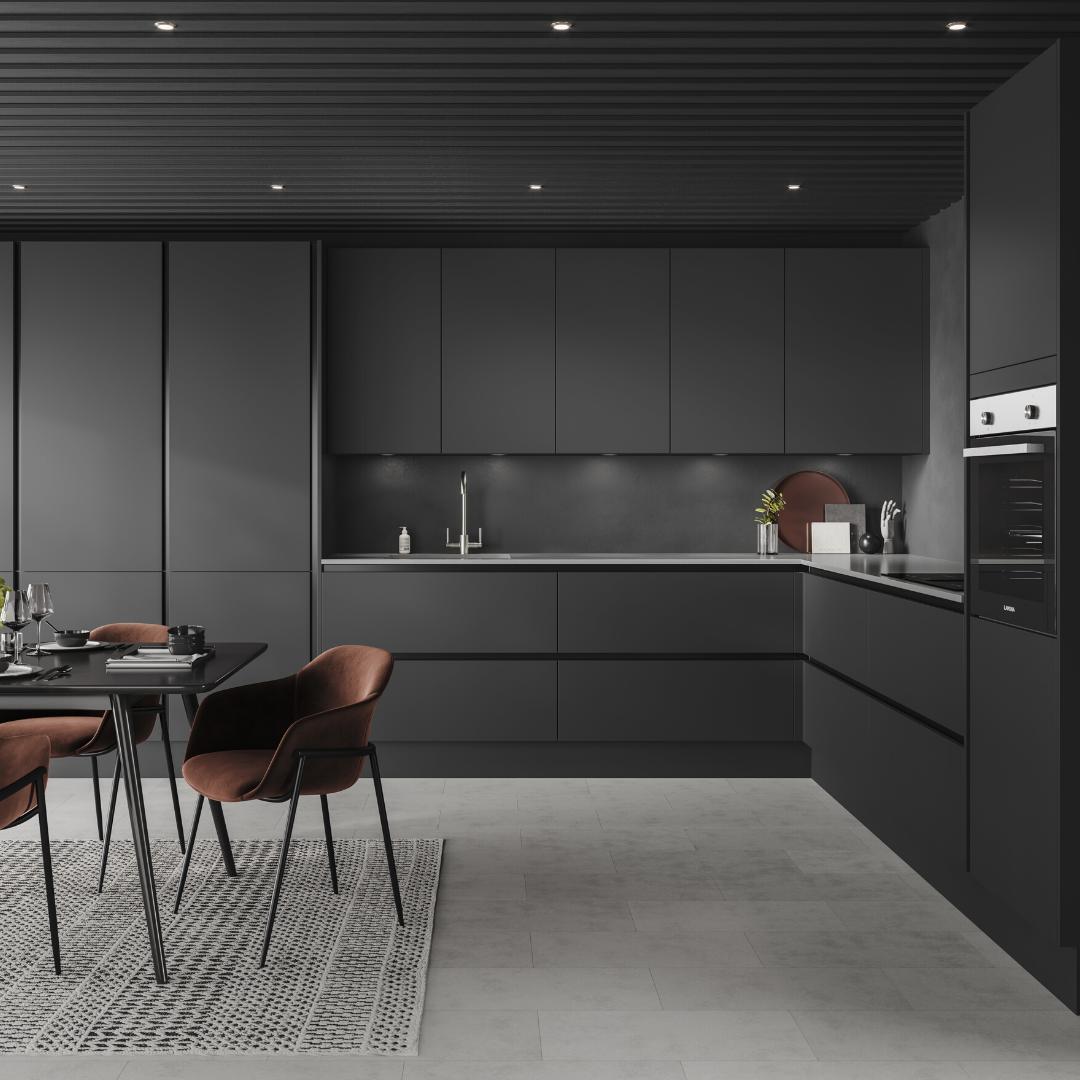 Hockley Super Matt Charcoal Handleless Kitchen In 2020 Handleless Kitchen Kitchen Inspiration Design Modern Grey Kitchen