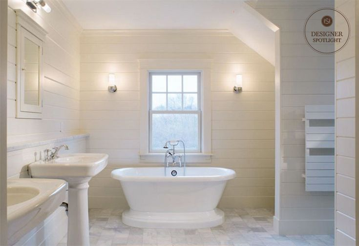 This Crisp Clean Bathroom With Shiplap Walls Is Full Of Timeless - What to use to clean bathroom walls