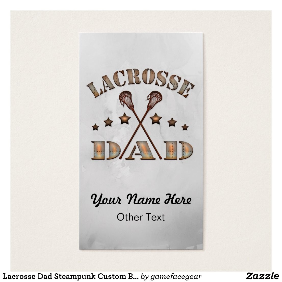 Lacrosse Dad Steampunk Custom Business Cards. Easy to customize ...