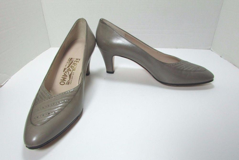 Ferragamo Calf Leather Taupe Medium Heel Dress Pumps Size US 7 B  #Ferragamo…