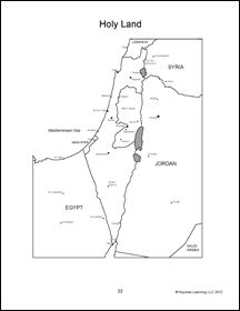 Map of the Holy Land, middle east, israel, palistine