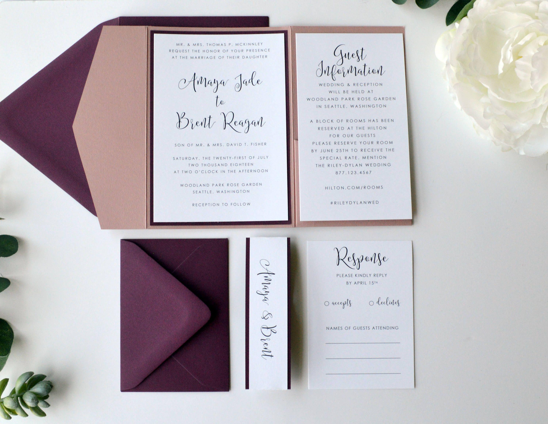 Burgundy Wedding Invitation, Mauve Wedding Invitation, Pocketfold ...