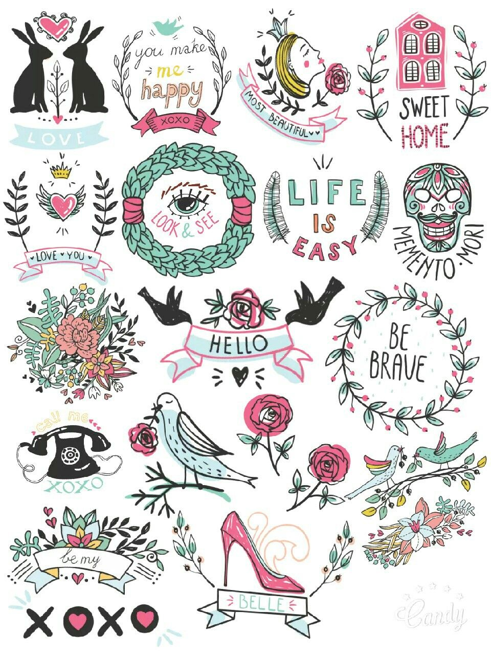 Lovely Symbol Stickers Printable Sticker Free Cute
