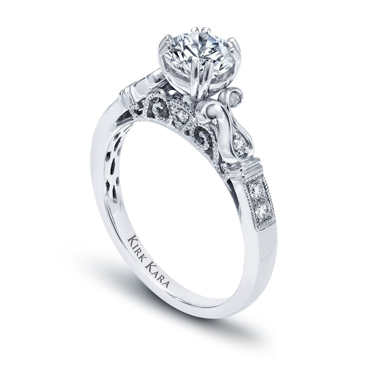 Kirk Kara Handcrafted Pirouetta Diamond Engagement Ring from the Kirk Kara Pirouetta Collection Crafted with 0.12 Carats of Diamonds.