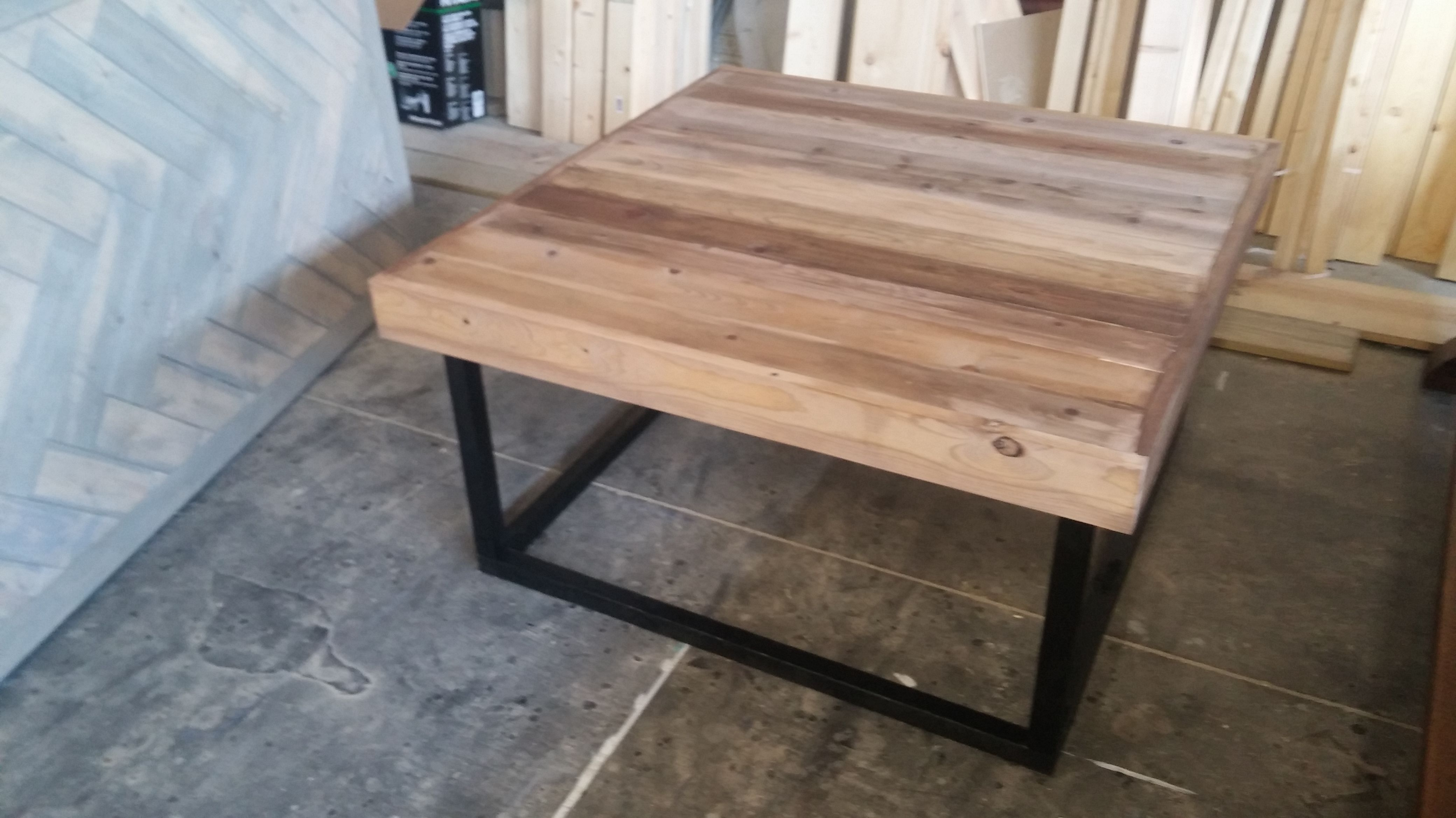 Reclaimed Wood Coffee Table 40x40 With Black Square Base