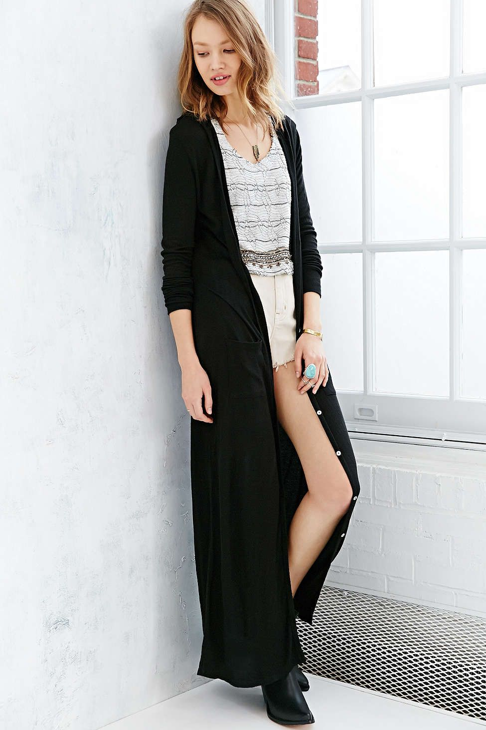 Ecote Easy Hooded Maxi Cardigan | Maxi cardigan, Long cardigan and ...