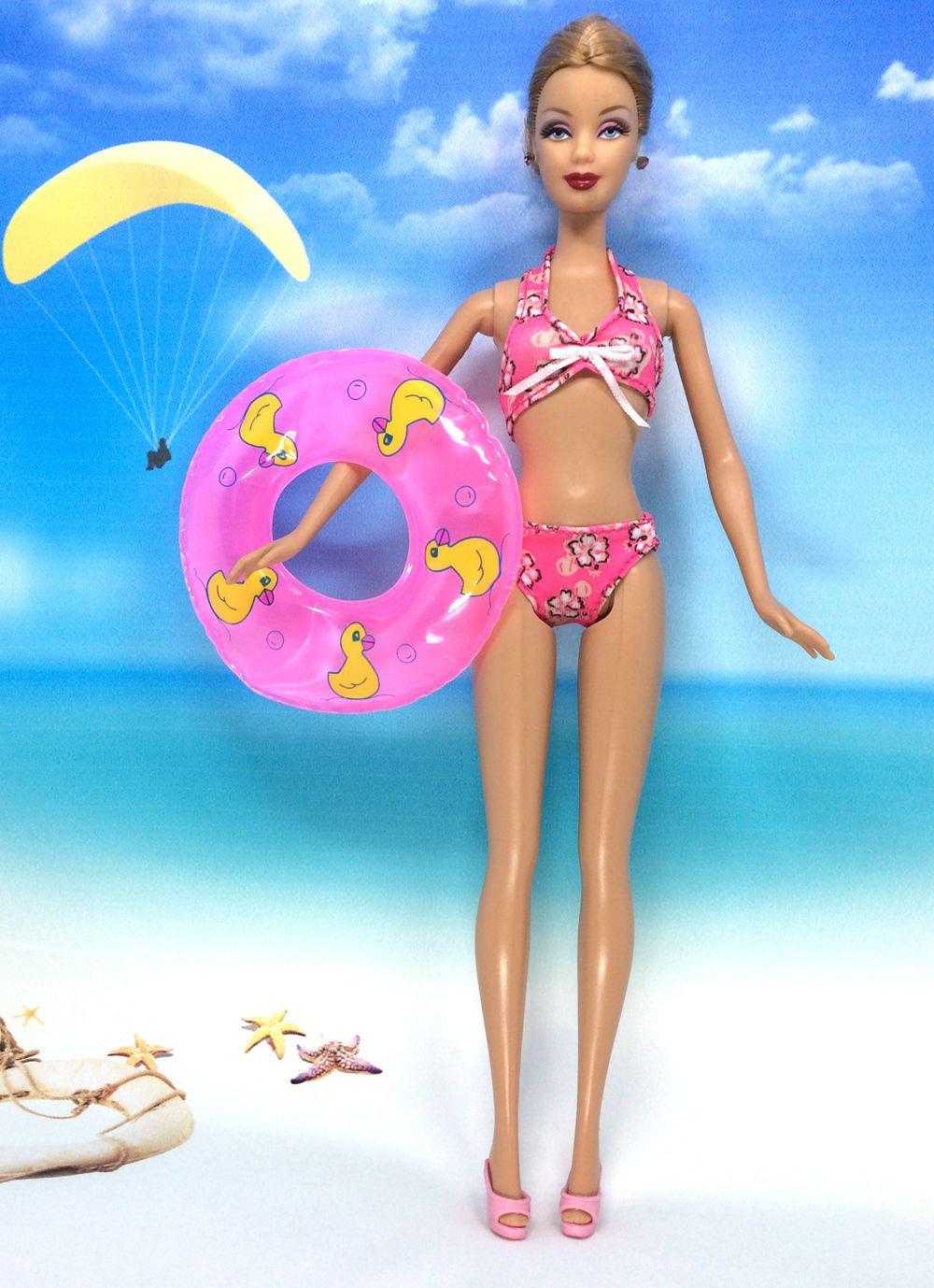Nk un set swimwear beach costume da bagno costume da bagno + pantofole nuoto boa anello salvagente per barbie doll accessori migliore regalo della ragazza'