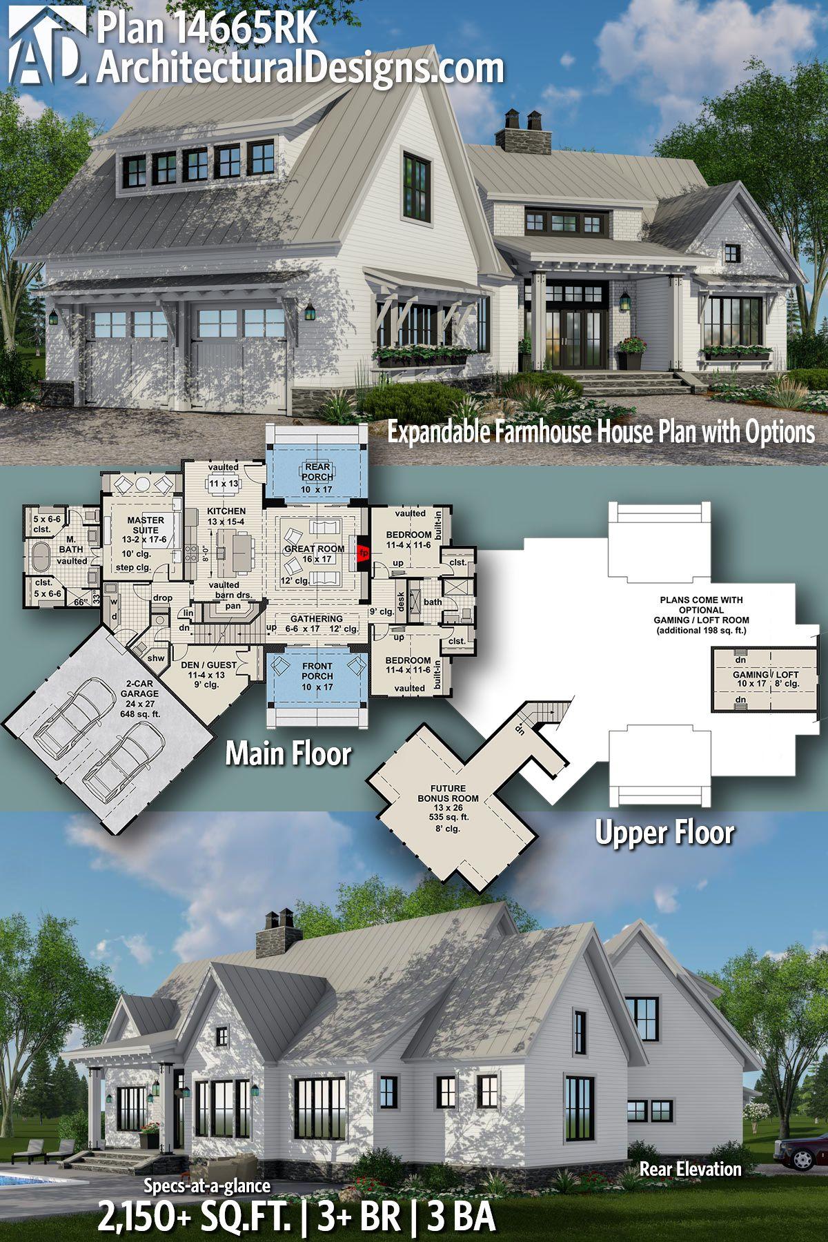Architectural Designs Modern Farmhouse Plan 14665RK has