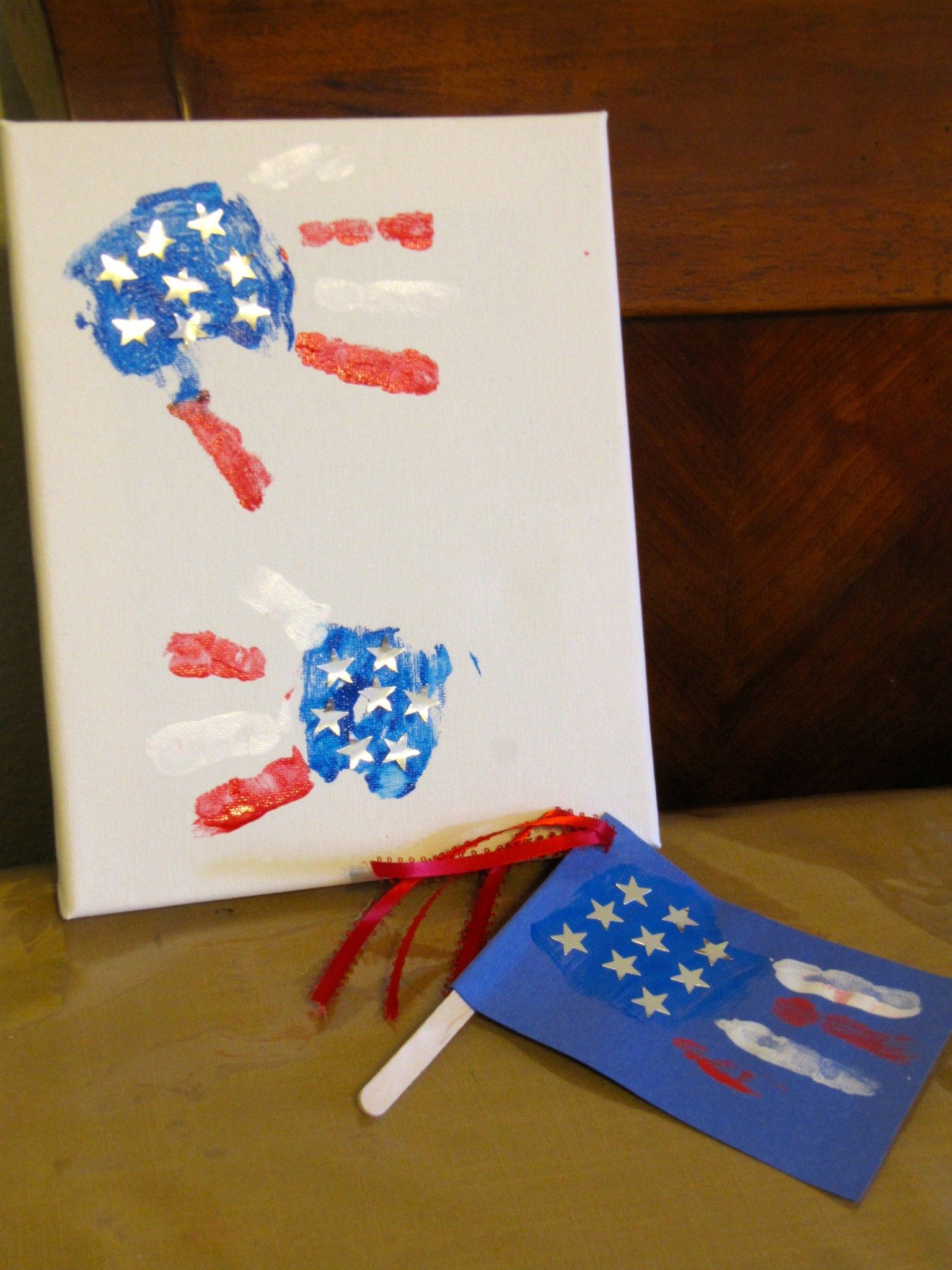 Flag Handprints - 5 And Banner Fireplace
