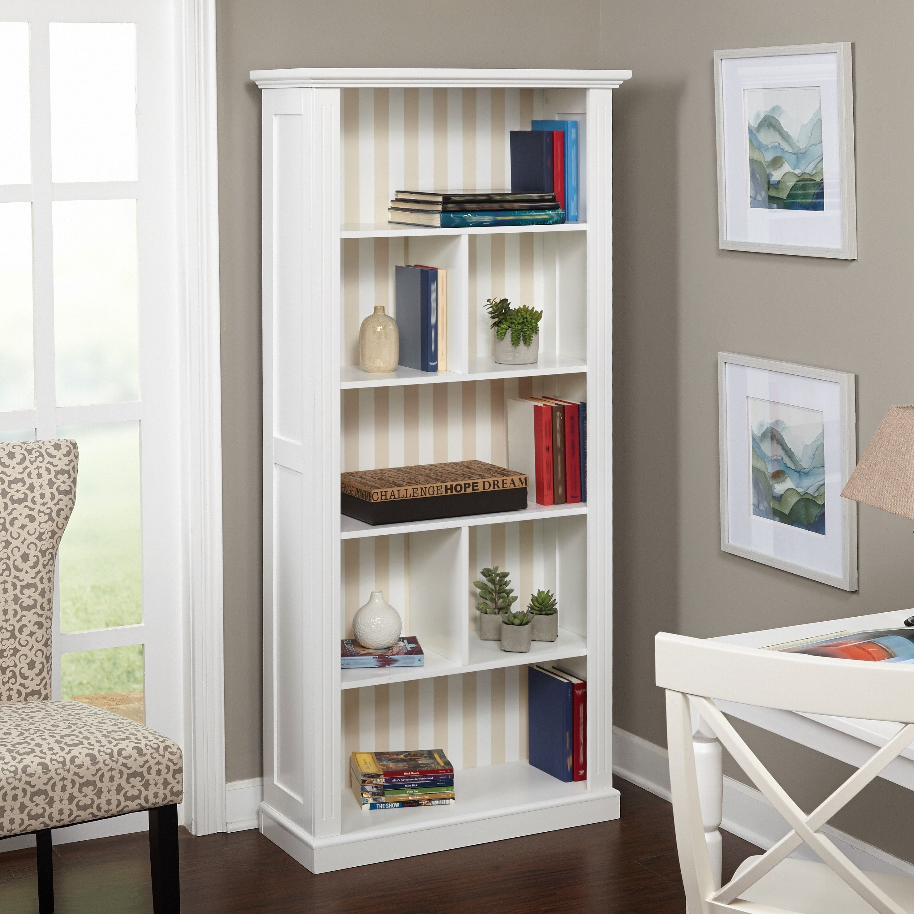 Best Simple Living Holland White Bookcase Reversible Grey 400 x 300