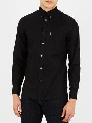 cotton button down long sleeve Ben Sherman Oxford Shirt in Black