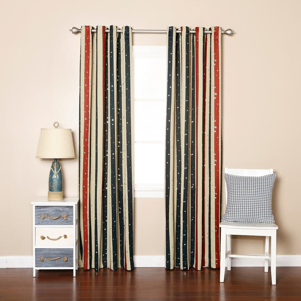 Best Home Fashion 84 In L Polyester Red And Blue Striped Metallic Star Curtain Panels In Ivory 2 Pack Bg 47 Grom Star Stripe 84 Striped Room Panel Curtains House Styles