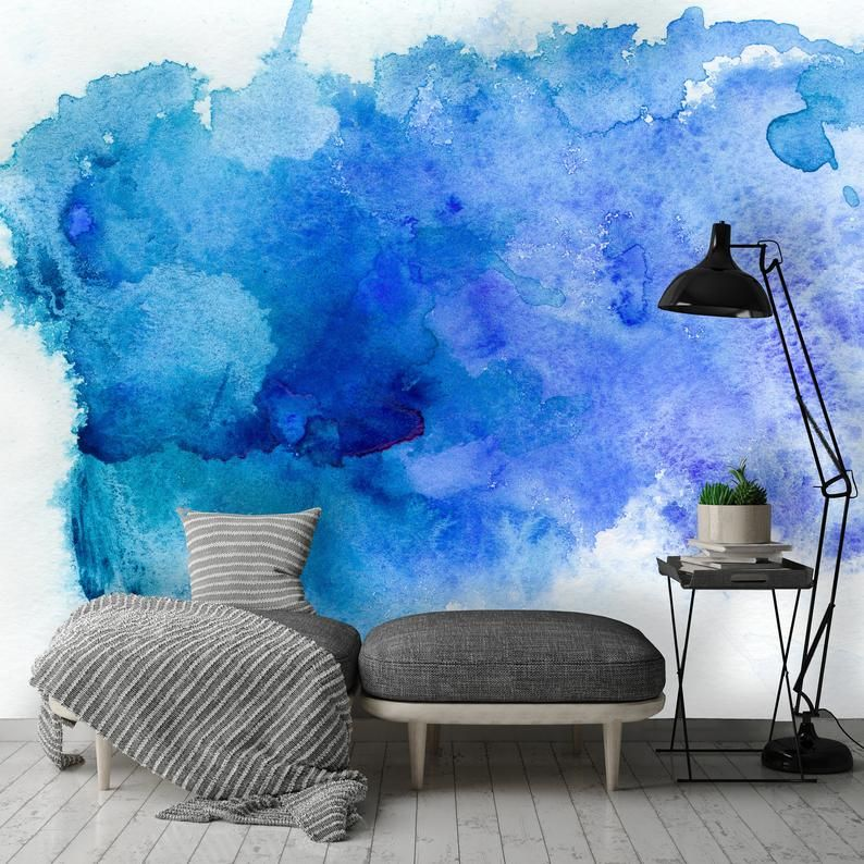 Removable Wallpaper Mural Peel Stick Abstract Blue Watercolor