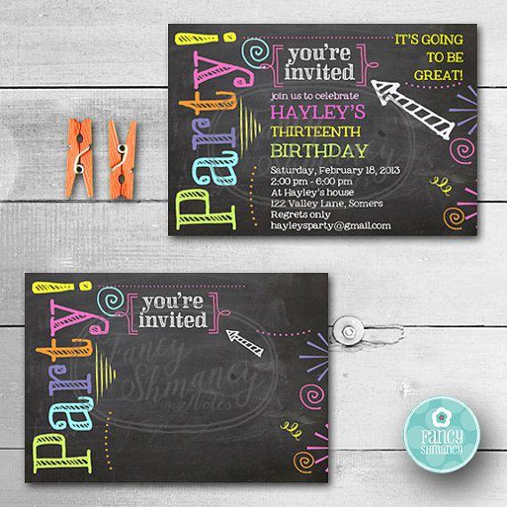 Editable Chalkboard Birthday Invitation Neon Colors Invitation