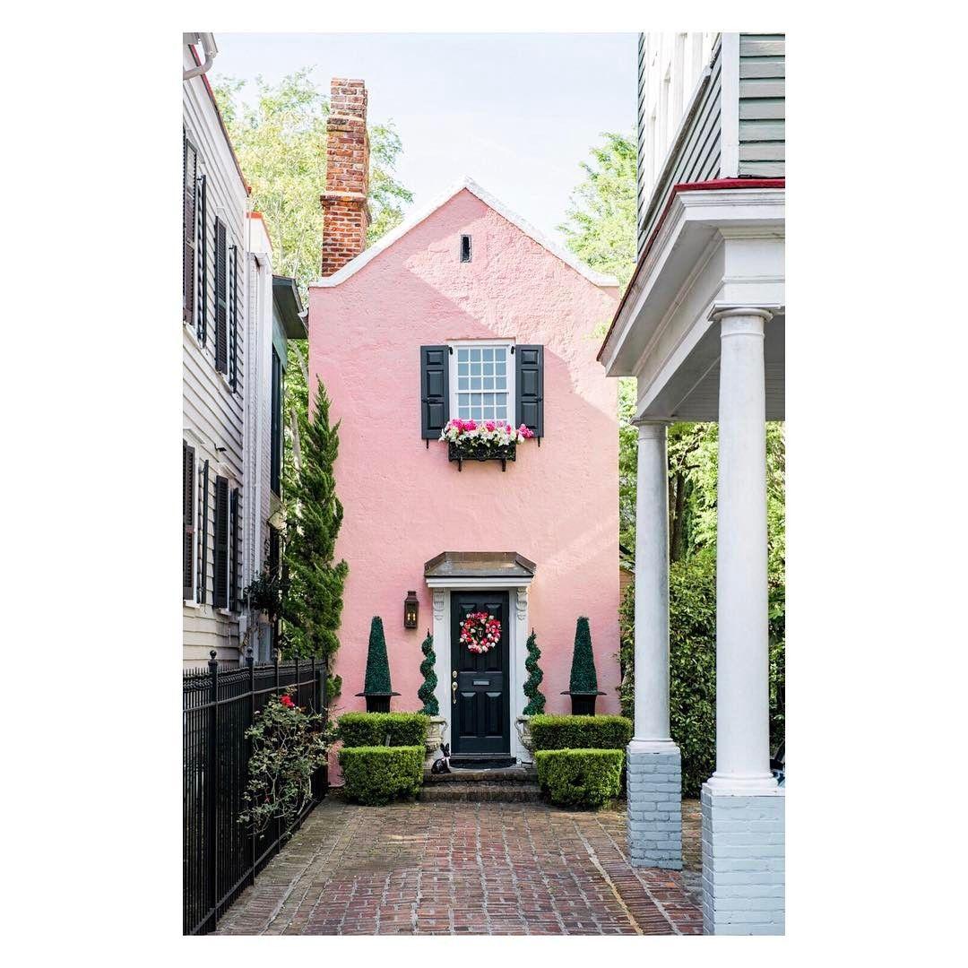 Little Pink House On Tradd Street Charleston Sc Via Steven Hyatt Pink Houses Gorgeous Houses Exterior House Color