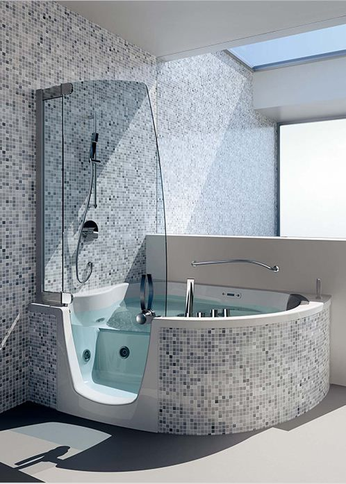 Walk In Hot Tub.Dolphin Gray Pearl Shell Tile In 2019 Bathtub Shower Combo