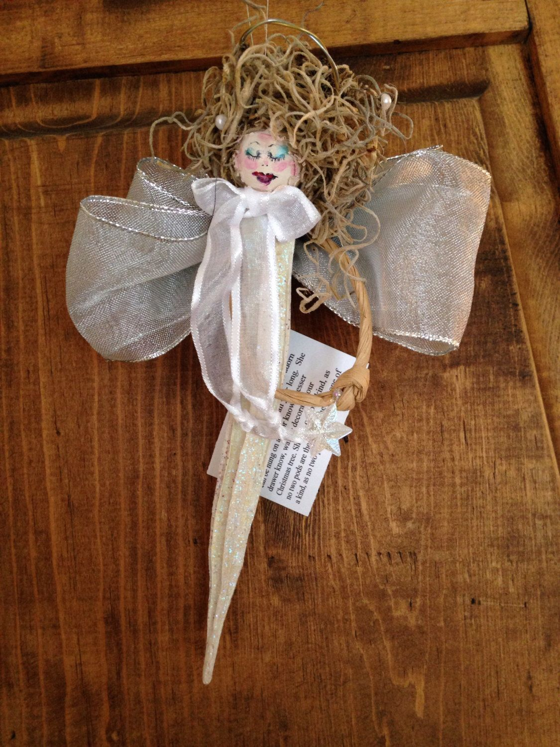 Unique one of a kind Handmade Dried OKRA Angel Ornament ...