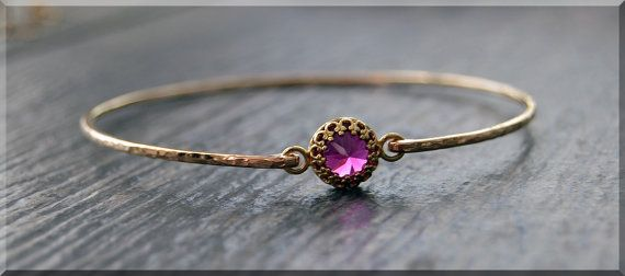 READY to SHIP Ruby Bangle Bracelet Hammered 14k by thewrappedpixie