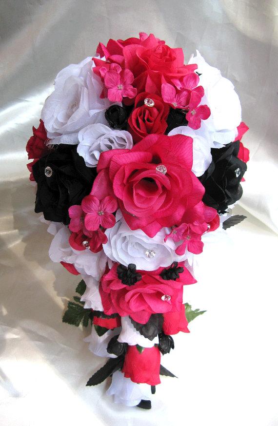 Wedding Bouquet Bridal Silk Flowers White FUCHSIA BLACK Hot PINK 17pc Cascade Arrangements