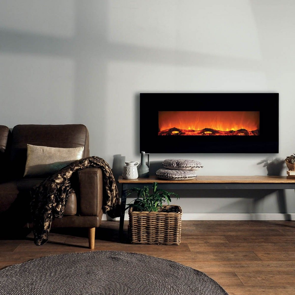 Longton Wall Mounted Electric Fireplace 50in