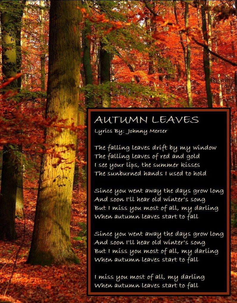 Autumn Autumn Leaves Lyrics Winter Songs Autumn