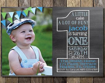 Chalkboard First Birthday Invitation Chalkboard Birthday - Birthday invitations for baby boy 1st
