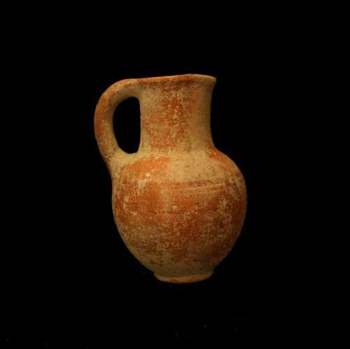 "Iron Age Terracotta Pitcher - SP.326 Origin: Hebron, Israel Circa: 900 BC to 700 BC  Dimensions: 7"" (17.8cm) high  Collection: Biblical Medium: Terracotta"