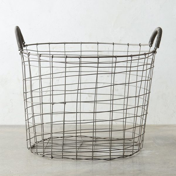 Two Handle Steel Wire Basket (68 BAM) ❤ liked on Polyvore featuring