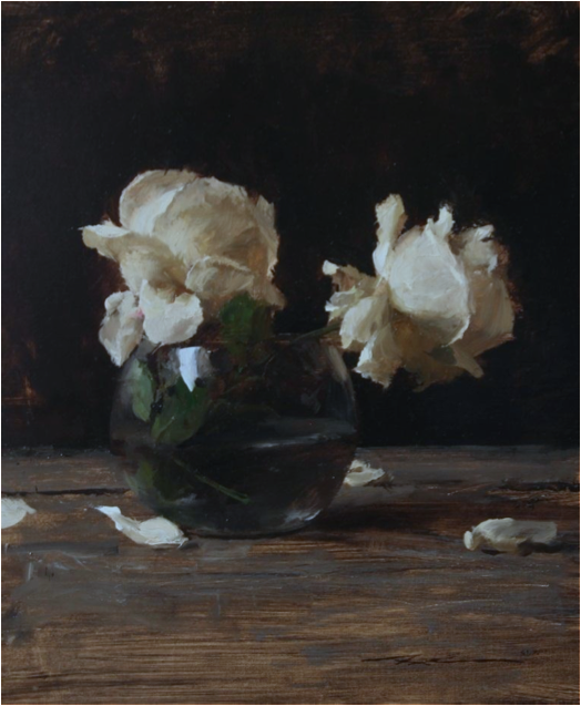 Michael Klein, Two White Roses in a Glass Vase, oil on linen, 16 X 14 in.