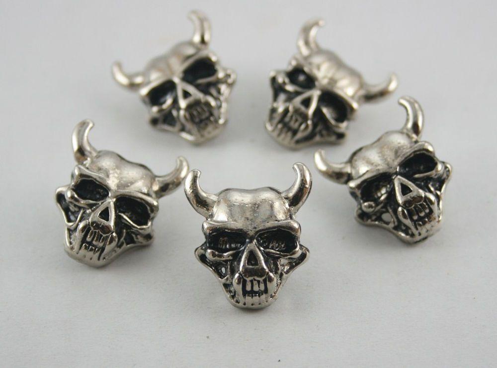 10 pcs Silver Tone Devil Skull Head Rivets Studs Decoration Findings 24 x20 mm. #Pekinesis
