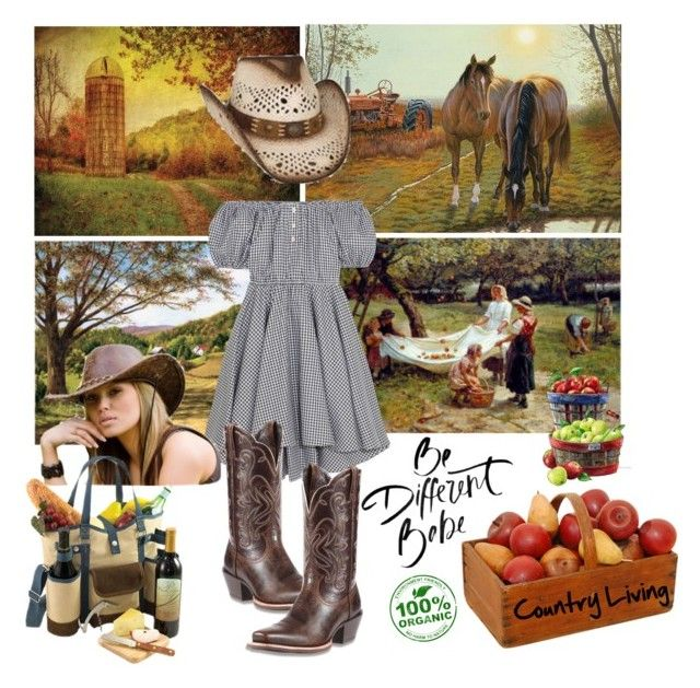 """Country Living Be Different Babe"" by lolly-p ❤ liked on Polyvore featuring Reflective Art, Caroline Constas, Ariat, Picnic Time, KAROLINA and country"