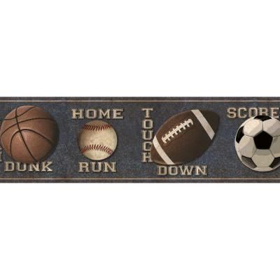 Chesapeake Slam Dunk Navy Sports Toss Wallpaper Border