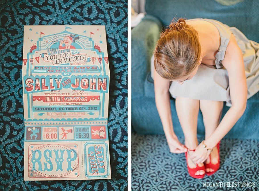 Red and blue vintage, circus-themed wedding invitation. Photograph ...