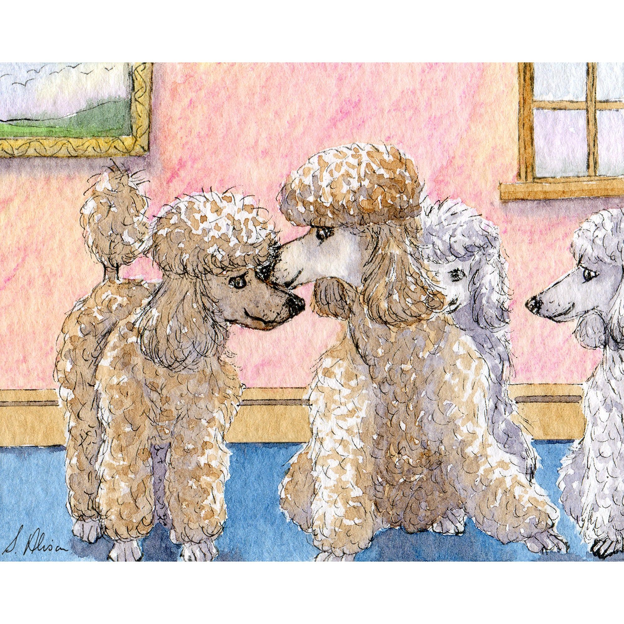 Poodle dog 5x7 8x10 11x14 art print from watercolour