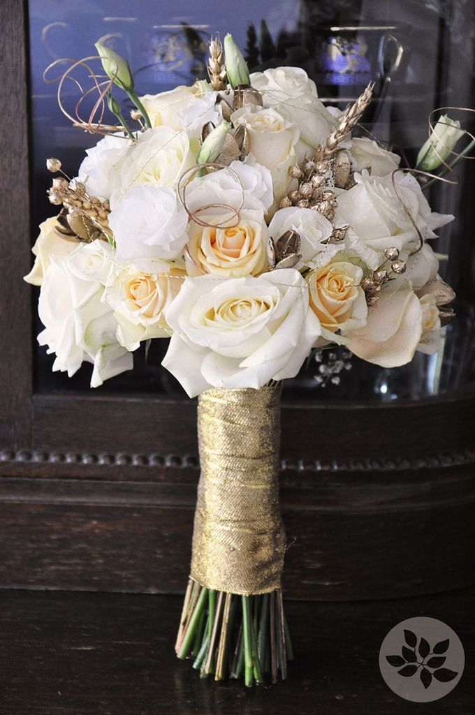 White and gold floral bouquet found for you by www for Gold flowers for wedding bouquet