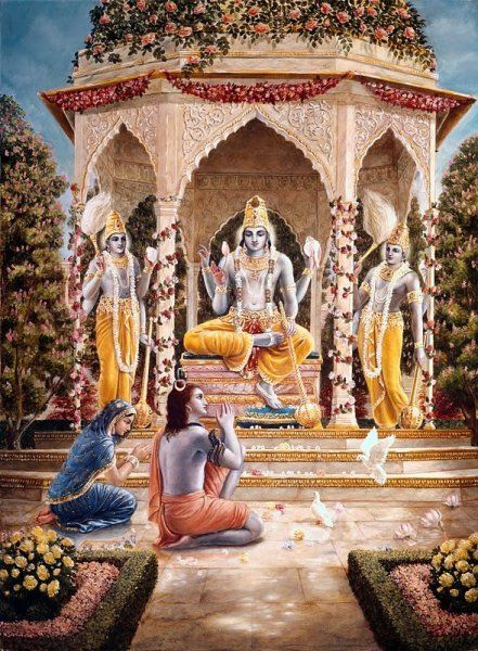 Lord Shiva and Parvati worshipping Lord Vishnu