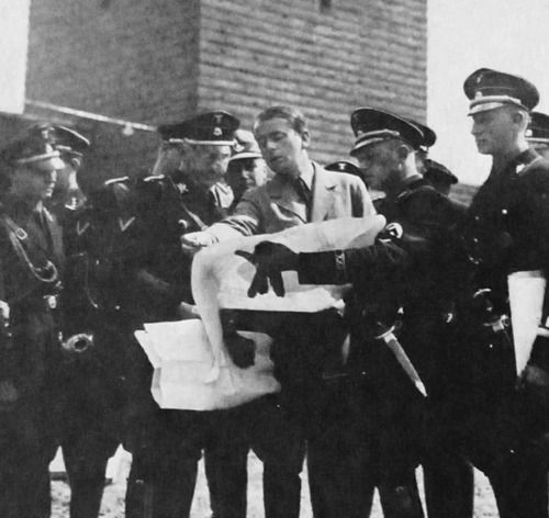 Albert Speer discussing plans for the burial of Paul von Hindenberg at Tannenberg Monument, 1934