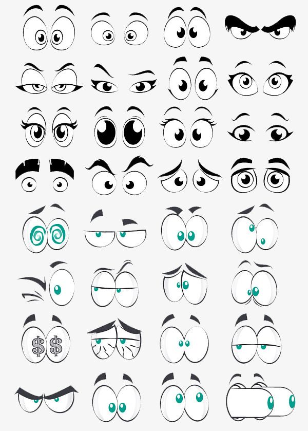 Cartoon Eye Collection Element Big Eyes Round Eyes Cartoon Eyes