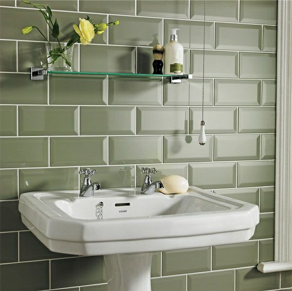 Elegante grüne Fliesen mit 3D Effekt-badezimmer fliesen ideen ...