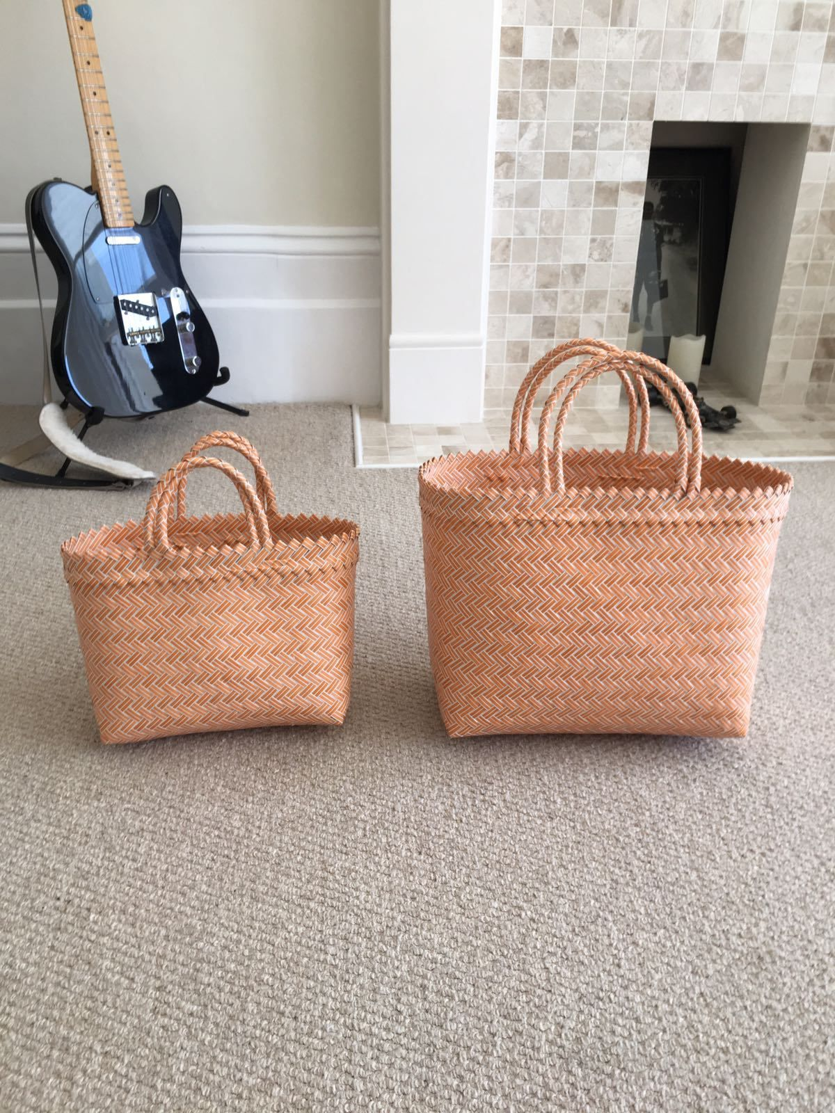 Large Hand Woven Plastic Basket  Bali Woven Plastic Bags