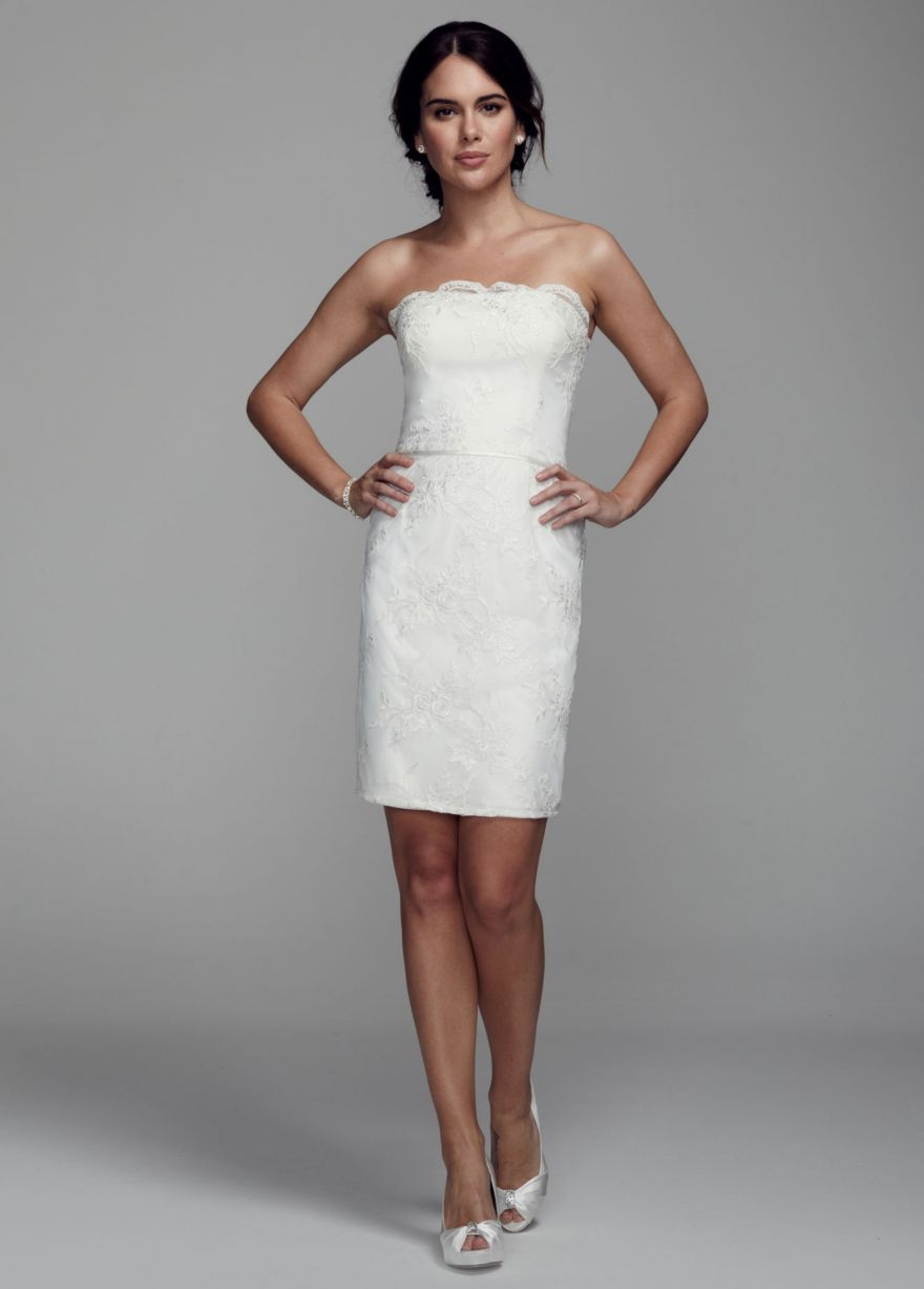 Short wedding reception dress  Strapless Short Dress with Lace Appliques  Davidus Bridal  wedding