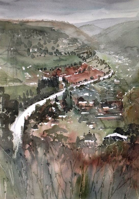 Kazuo Kasai Bird S Eye Of Ragusa Watercolor Landscape Landscape