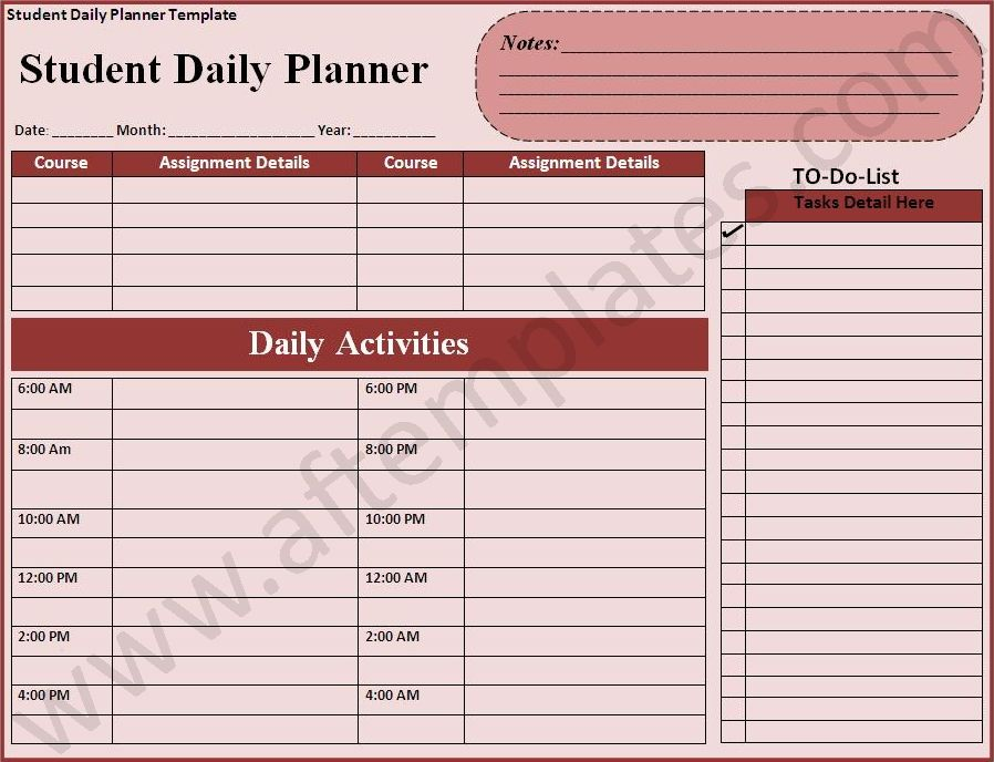 Daily Planner Templates 21+ Free Printable Word, Excel  PDF